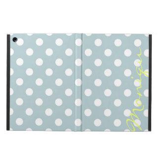 Capa Para iPad Air turquesa pastel & pontos brancos com nome