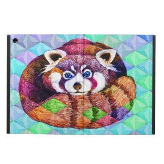 Capa Para iPad Air Urso de panda vermelha no cubism de turquesa