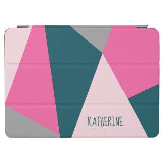 Capa Para iPad Air Verde esmeralda pastel geométrico elegante de rosa