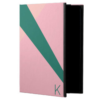 Capa Para iPad Air Verde geométrico elegante do pêssego do rosa
