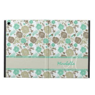 Capa Para iPad Air Verde pastel luxúria da hortelã, rosas bege no