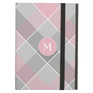 Capa Para iPad Air xadrez checkered cinzenta com monograma no rosa