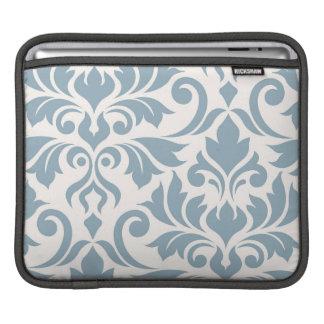 Capa Para iPad Arte do damasco do Flourish mim azul no creme