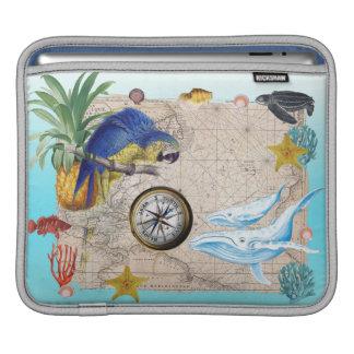 Capa Para iPad Colagem azul tropical