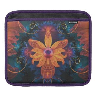 Capa Para iPad Flor Alaranjado-Azul bonita da orquídea do anjo do