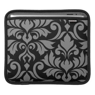 Capa Para iPad Floresça a arte do damasco 2Way mim cinzas & preto