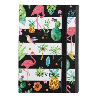 Capa Para iPad Mini 4 Listras pretas & flamingos coloridos do flor & os