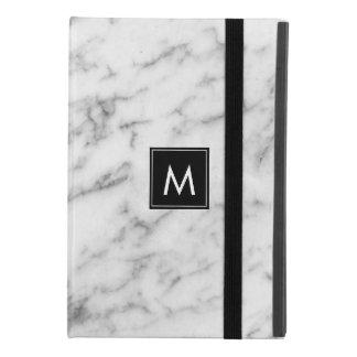 Capa Para iPad Mini 4 Monograma de mármore branco & cinzento moderno