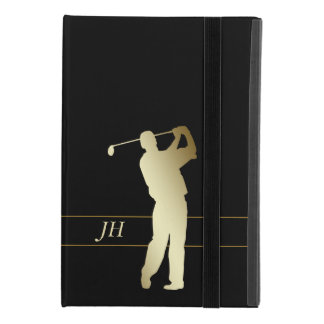 Capa Para iPad Mini 4 Monograma do jogador de golfe do ouro da silhueta