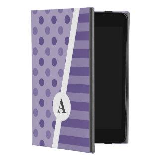 Capa Para iPad Mini 4 Monograma ultravioleta das bolinhas e da listra