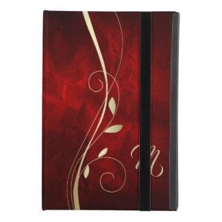 Capa Para iPad Mini 4 Monograma vermelho elegante da folha do redemoinho