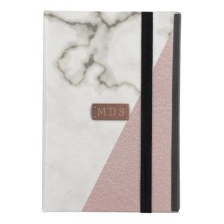 Capa Para iPad Mini 4 O falso de mármore moderno cora couro cor-de-rosa
