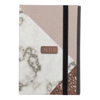 Capa Para iPad Mini 4 O mármore cor-de-rosa do brilho do ouro do falso