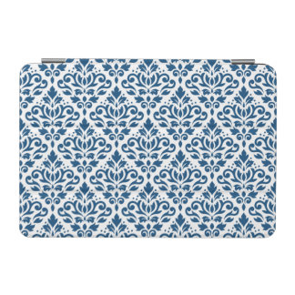 Capa Para iPad Mini Azul de Ptn DK do damasco do rolo no branco