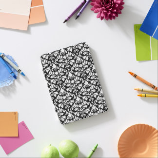 Capa Para iPad Mini Branco da cor damasco do Flourish no preto