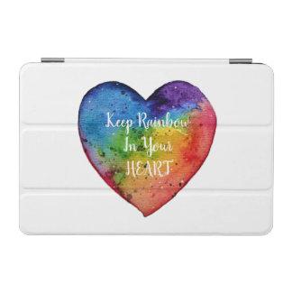 Capa Para iPad Mini Coração bonito do arco-íris da aguarela