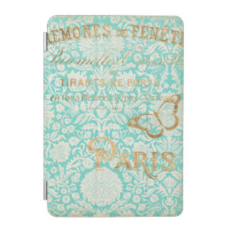 Capa Para iPad Mini Design do ouro de Paris do vintage com borboleta