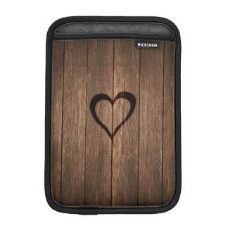 Capa Para iPad Mini Madeira rústica impressão queimado do coração