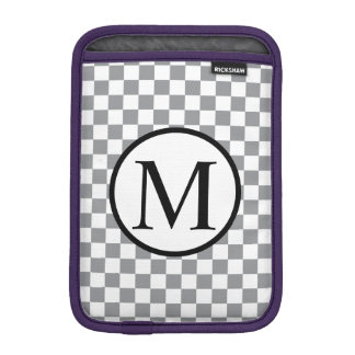 Capa Para iPad Mini Monograma simples com tabuleiro de damas cinzento