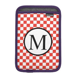 Capa Para iPad Mini Monograma simples com tabuleiro de damas vermelho