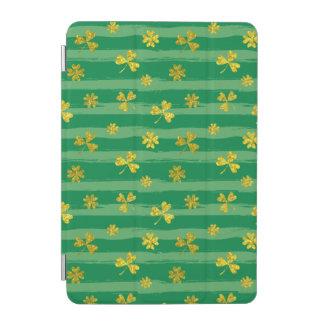 Capa Para iPad Mini O verde dourado do trevo de St Patrick listra o