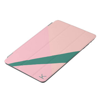 Capa Para iPad Mini Verde geométrico elegante do pêssego do rosa