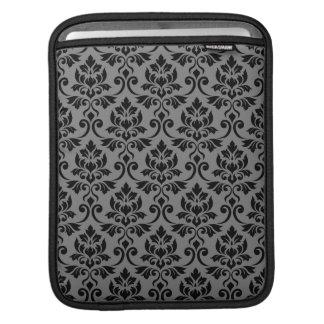 Capa Para iPad Preto da cor damasco de Feuille em cinzas