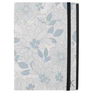 """Capa Para iPad Pro 12.9"""" A Azul-Cinza Pastel floresce o teste padrão sem"""