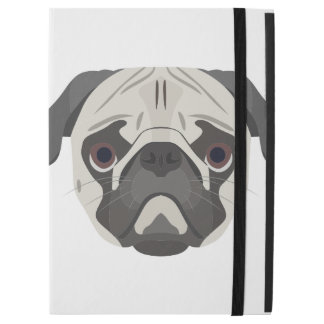 """Capa Para iPad Pro 12.9"""" A ilustração persegue o Pug da cara"""