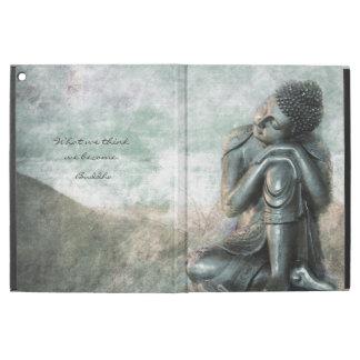 """Capa Para iPad Pro 12.9"""" Buddha de prata calmo com citações inspiradas"""