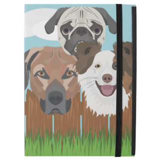 """Capa Para iPad Pro 12.9"""" Cães afortunados da ilustração em uma cerca de"""