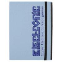 Caixa azul do fólio do ipad do gênio do pai
