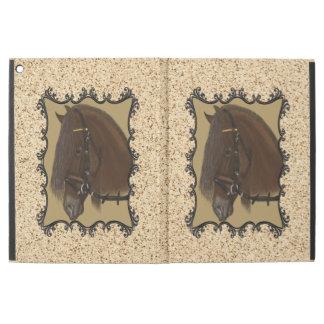 """Capa Para iPad Pro 12.9"""" Cavalo de esboço do frisão de Brown"""