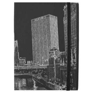 """Capa Para iPad Pro 12.9"""" Chicago River Wrigley 1967 que constrói Sun"""