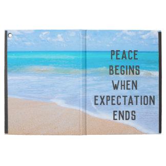 """Capa Para iPad Pro 12.9"""" Citações inspiradas com cena tropical da praia"""