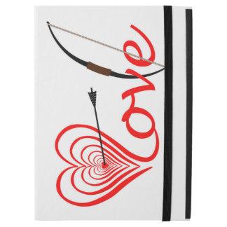 """Capa Para iPad Pro 12.9"""" Coração amor alvo com seta e arco"""