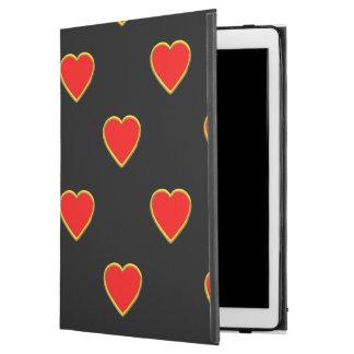 """Capa Para iPad Pro 12.9"""" Corações vermelhos em um fundo preto"""