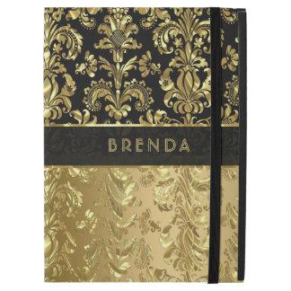 """Capa Para iPad Pro 12.9"""" Damascos florais elegantes 2 do ouro preto e"""