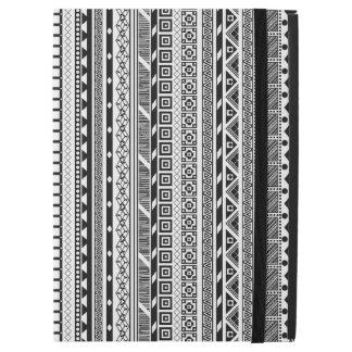 "Capa Para iPad Pro 12.9"" Design asteca branco preto bonito dos padrões"
