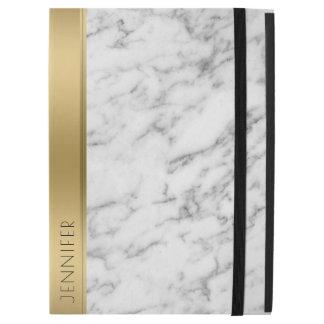 "Capa Para iPad Pro 12.9"" Design moderno do acento de mármore branco do ouro"