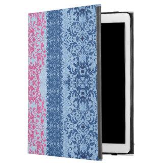 "Capa Para iPad Pro 12.9"" Flor de lis intrincada no rosa e no azul"
