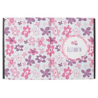 """Capa Para iPad Pro 12.9"""" Flores cor-de-rosa e bonito azul dos corações"""