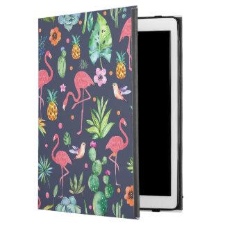 "Capa Para iPad Pro 12.9"" Flores tropicais coloridas & flores de flamingos"