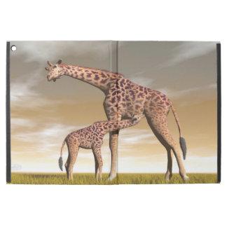 "Capa Para iPad Pro 12.9"" Girafa da mãe e do bebê - 3D rendem"