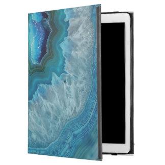 """Capa Para iPad Pro 12.9"""" Imagem mineral do cristal da ágata da rocha azul"""
