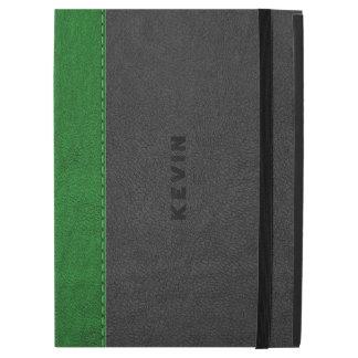 """Capa Para iPad Pro 12.9"""" Imagem preta & verde do couro do vintage"""