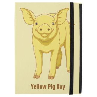 """Capa Para iPad Pro 12.9"""" Leitão bonito porco dia do 17 de julho amarelo"""