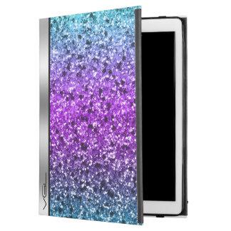 """Capa Para iPad Pro 12.9"""" Monograma colorido do acento da prata do brilho"""