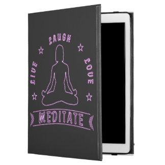 "Capa Para iPad Pro 12.9"" O amor vivo do riso Meditate texto fêmea (o néon)"