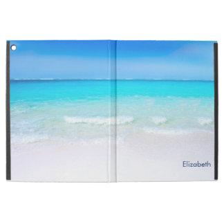 """Capa Para iPad Pro 12.9"""" Praia tropical com um costume do mar de turquesa"""